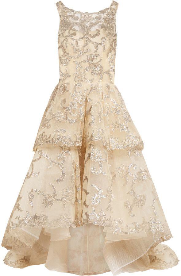 32a09f36bb257 Oscar de la Renta Oscar De La Renta Metallic-Appliquéd Tulle Gown ...