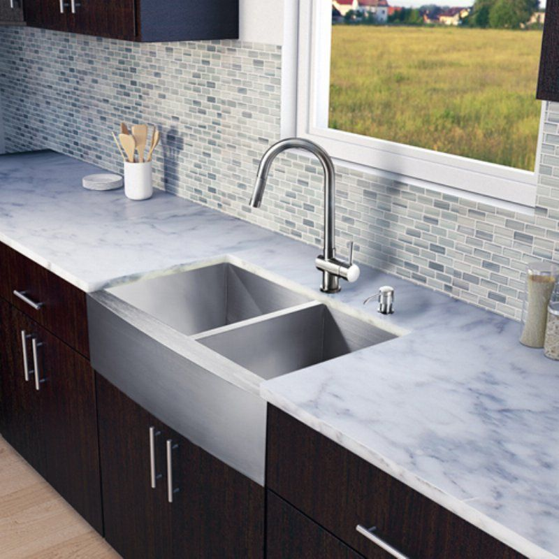 Vigo Vg15135 Double Basin Farmhouse Kitchen Sink And Faucet Set