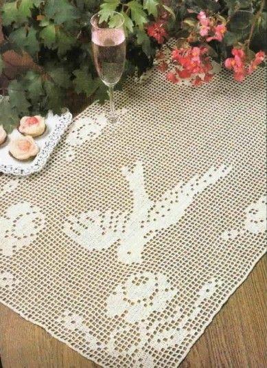 Filet crochet chart for table runner crochet filet - Chemin de table filet de peche ...