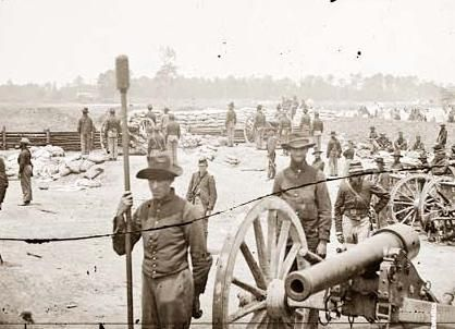 Captain Rufus D. Pettit's Battery B, 1st New York Light Artillery, in Fort Richardson near Arlington, VA. Built by the Union Army in 1861 as part of the Defense of Washington.