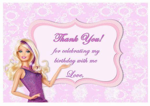 Barbie Thank You Cards Birthday Printable Happy Birthday Printable Barbie Birthday Invitations Birthday Card Printable