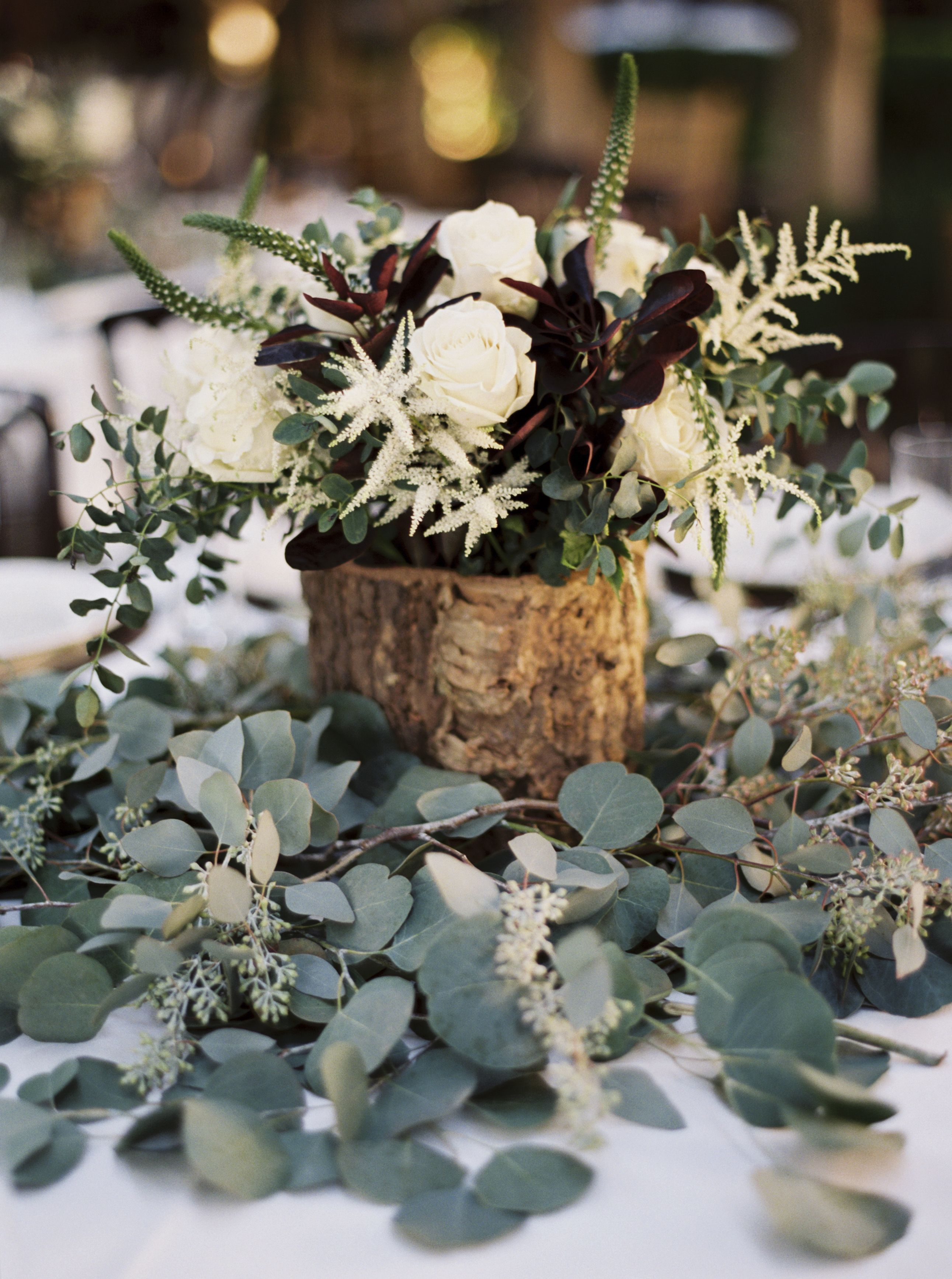 Rustic Wooden Centerpiece On Eucalyptus Leaves Wedding Centerpieces November Wedding Centerpieces Wedding Centerpieces Diy