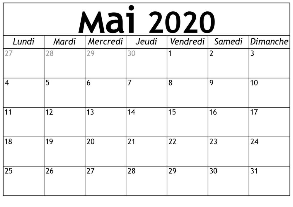 Calendrier Mensuel Mai 2020 À Imprimer Gratuit | nosuvia.in