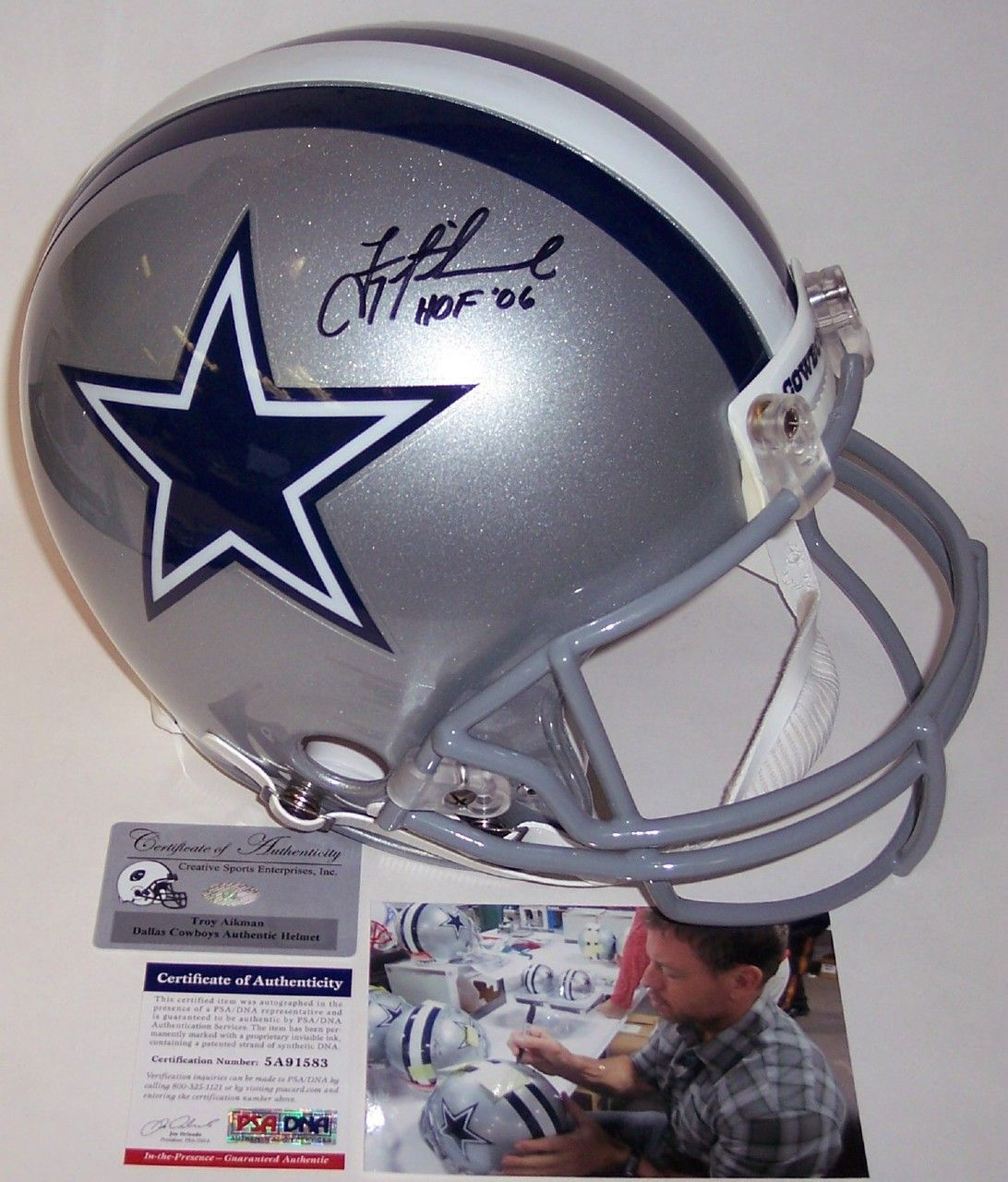 a4e0b1be9 Dallas Cowboys · Dna · Troy Aikman - Autographed Official Full Size Riddell  Authentic Proline Football Helmet w HOF 06