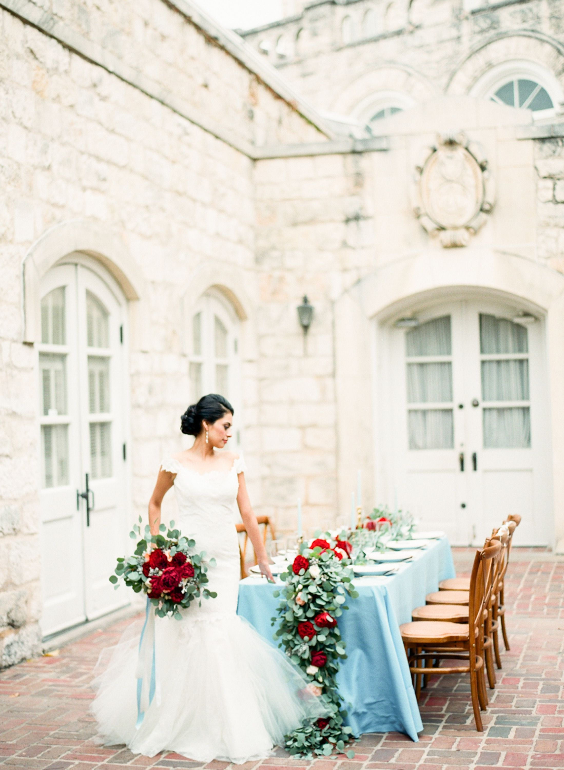 Romantic cranberry dusty blue wedding inspiration cranberry and