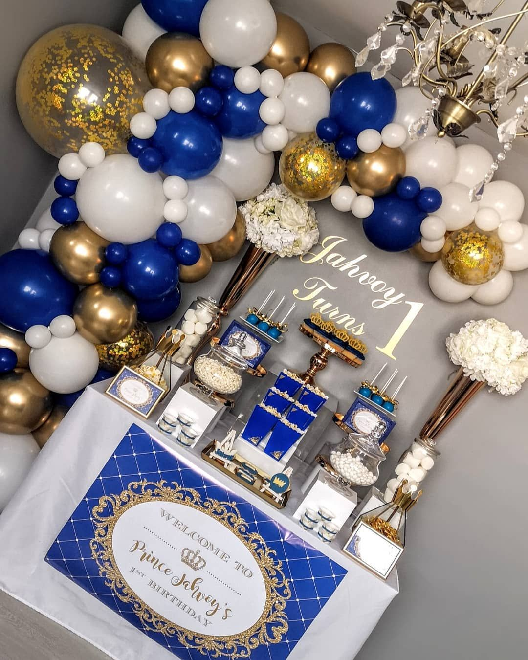 Mq Events On Instagram Mq Events Occasion 1st Birthday Theme Royal With Blue White Go Blue Birthday Parties Gold Birthday Party Blue Birthday Themes