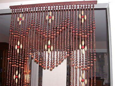 Vtg Original 1960 S Hippie Archway Door Wood Beads Beaded Curtain 36 X 72 Ebay Beaded Curtains Beaded Door Curtains Painted Doors