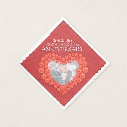 Coral 35th Wedding Anniversary Heart Photo Napkins Wedding Party