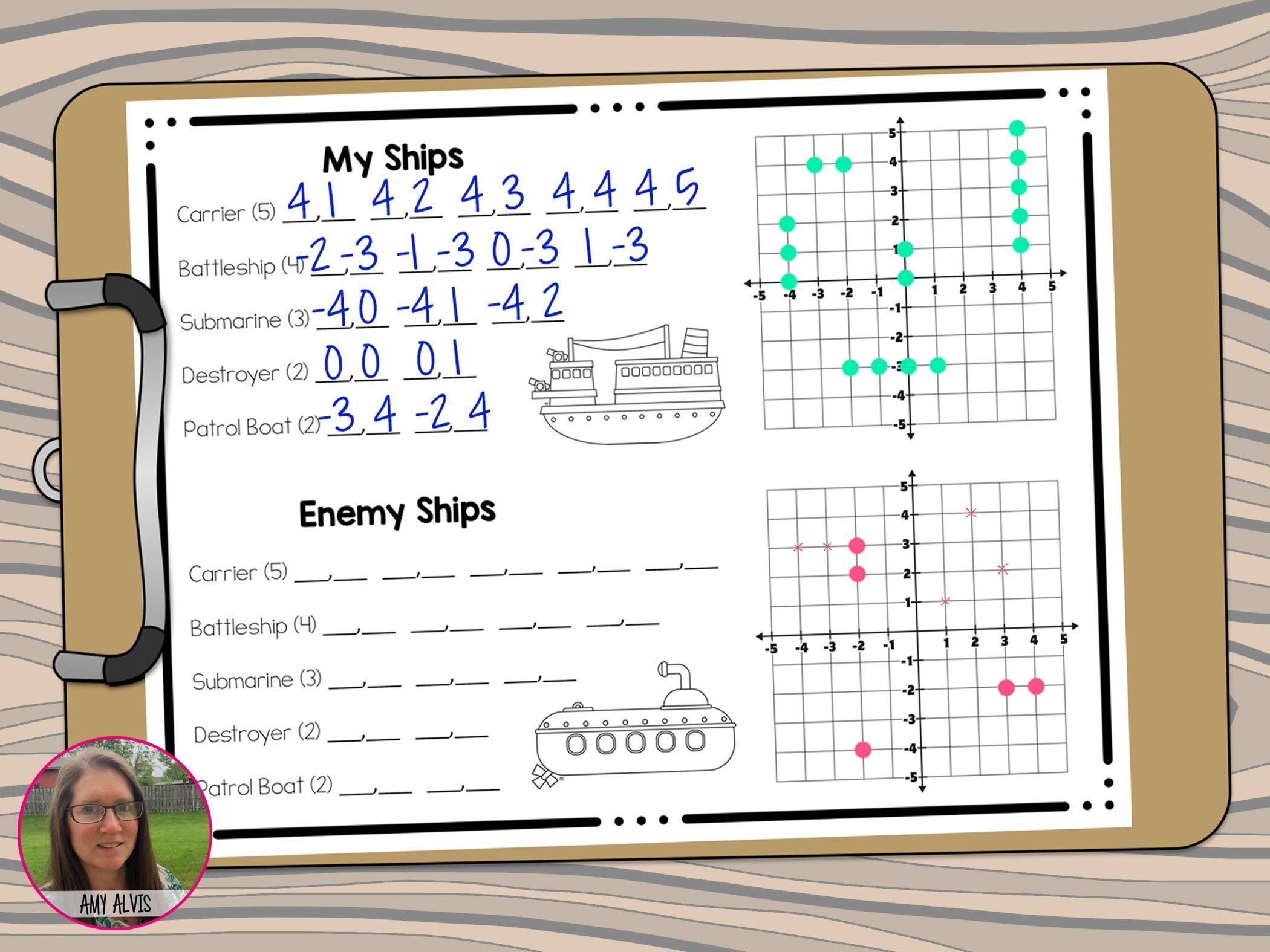 Coordinate Graphing Plotting Points Battleship Math Game
