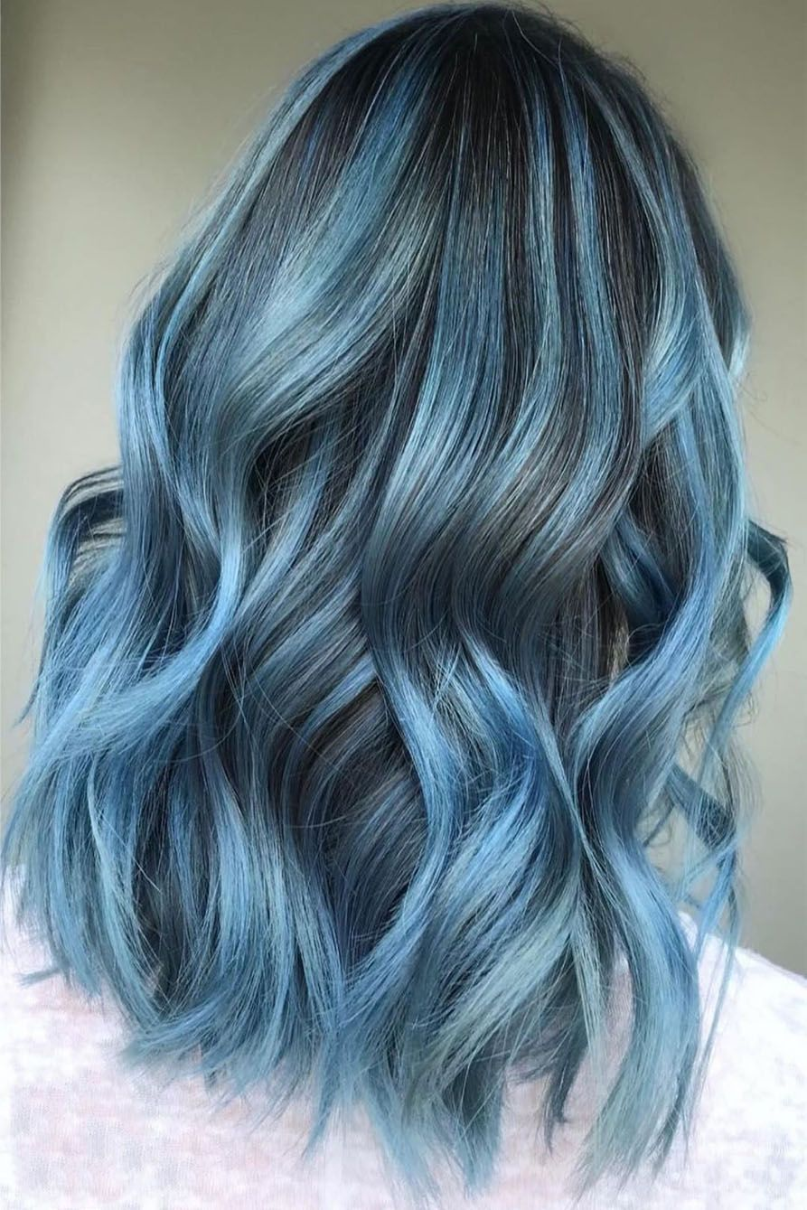 Beautiful Blue Color With Highlights Ideas 2019 Blue Hair Highlights Short Hair Highlights Hair Inspo Color
