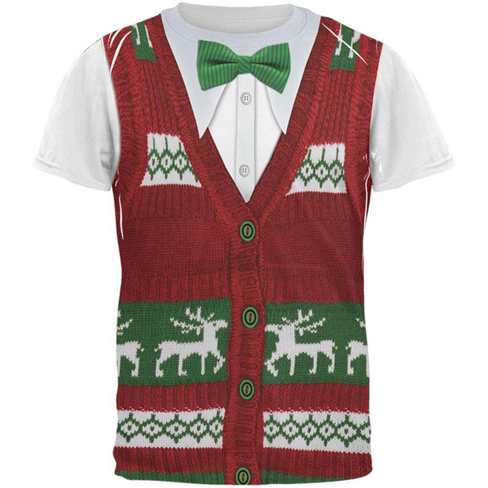 online store e2e97 58a72 Ugly Christmas Sweater Vest Costume All Over Adult T-Shirt ...