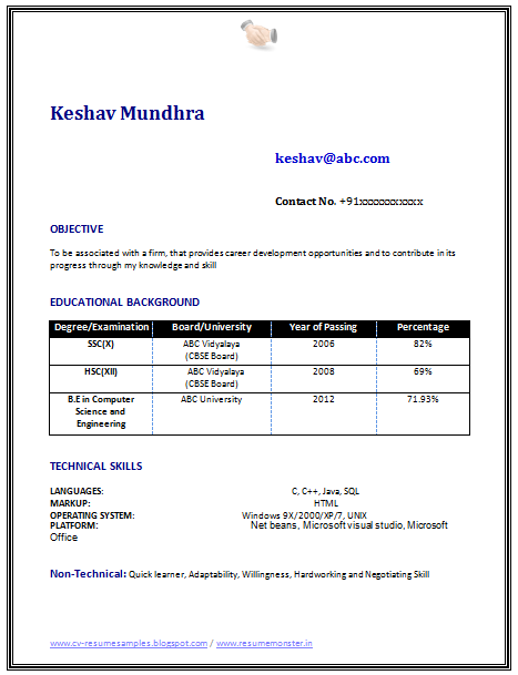 Resume Template of a Computer Science Engineer Fresher with Great – Sample Resume for Freshers