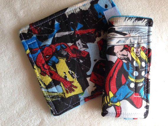 "Super Hero Marvel Comic Book Car Seat Strap Covers Baby Toddler 5.5"" Set Padded for Boys Reversible Minky Dot Back"