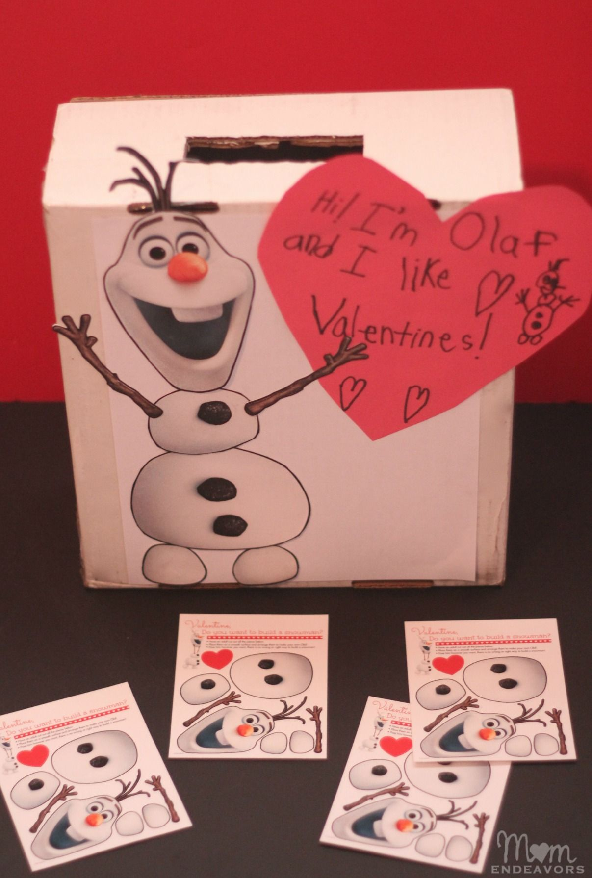 diy olaf valentines box with free printable have your kids build their own snowman for - Homemade Valentine Box Ideas