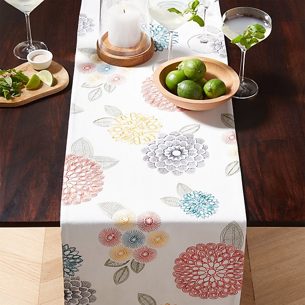 Lyla Embroidered Table Runner Crate And Barrel Embroidered