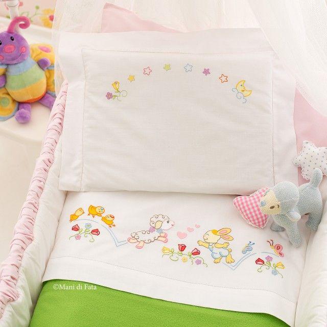 Disegni Decalcabili Per Lenzuolini.Lenzuolino Culla Disegno Carta Mani Di Fata Bimbi Baby