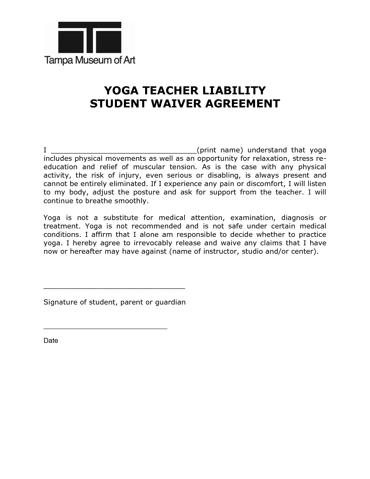 Teacher Student Agreement Form Pdf Pictures  Yoga Etc