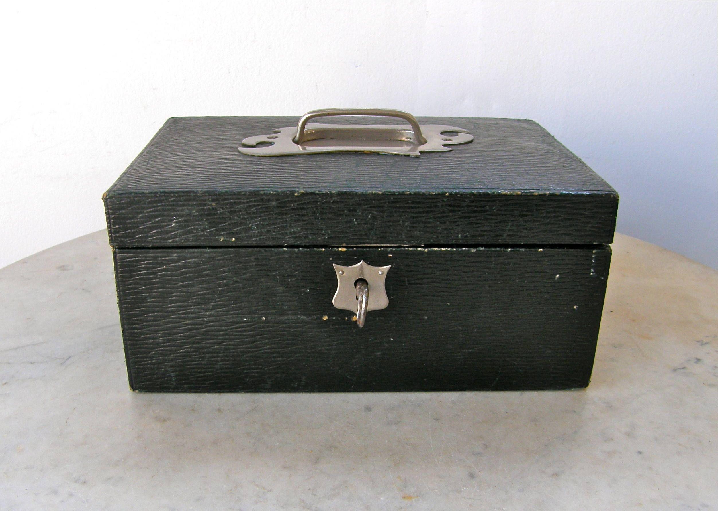 LEATHER JEWELRY BOX English Edwardian Gentlemans Black Trinket Box