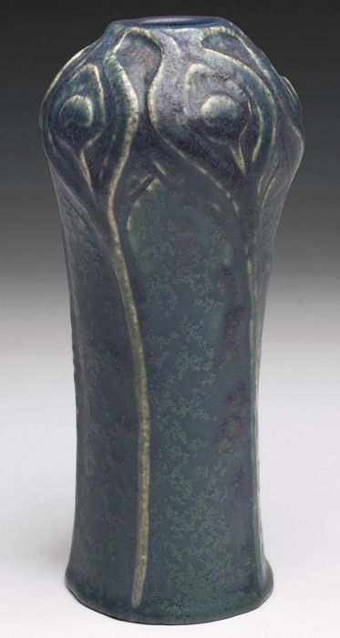 "Van Briggle Pottery, vase with carved peacock feather design, matte blue-green glaze with deep purple highlights, 3""w x 7""h"