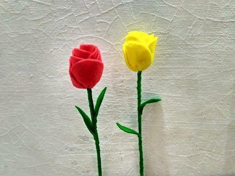 18 Cara Membuat Bunga Tulip Dari Kain Flanel Tutorial Diy Youtube Felt Flowers Diy Felt Flowers Hand Embroidery Flowers