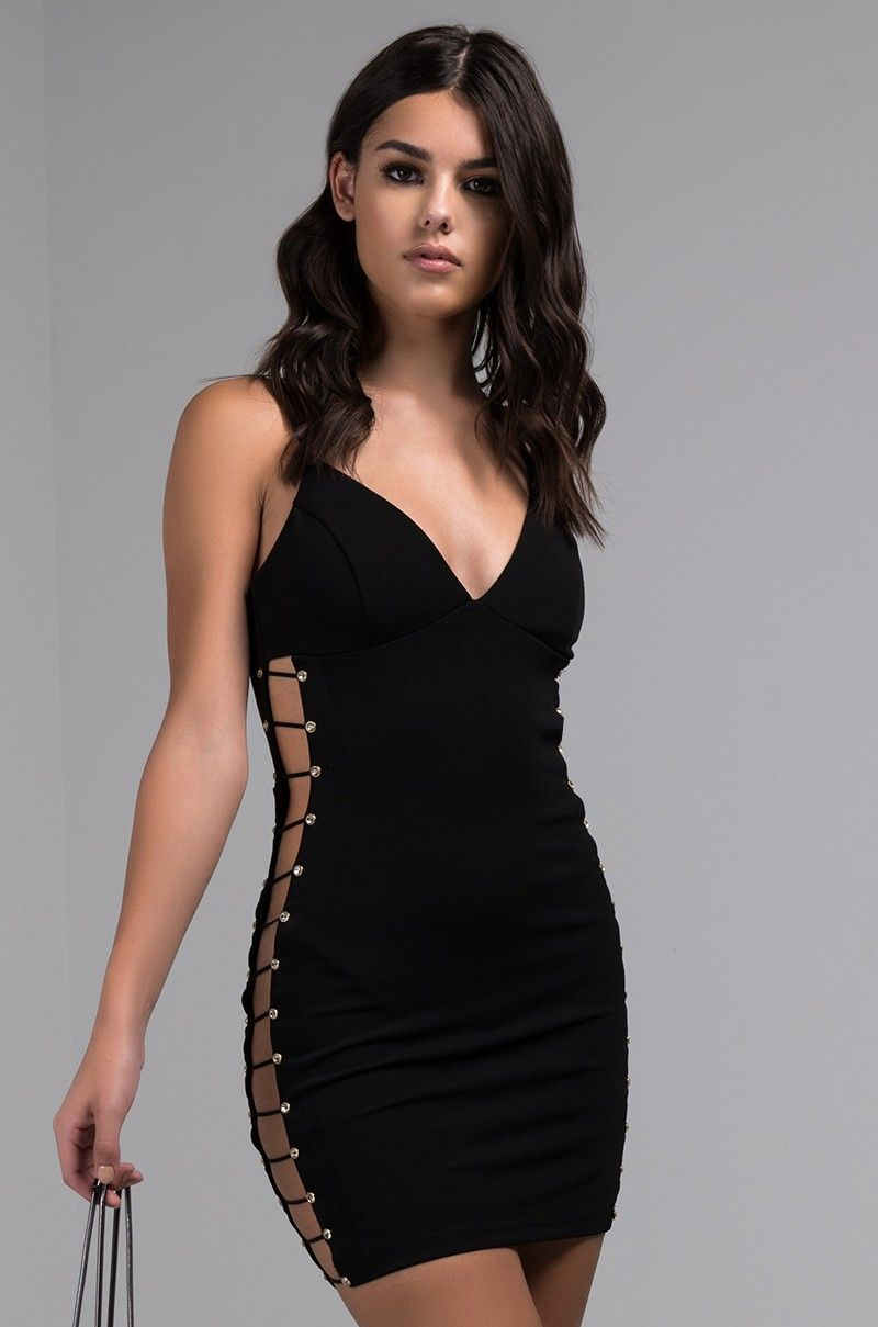 Front view all for them cut out side mini dress in black fashion