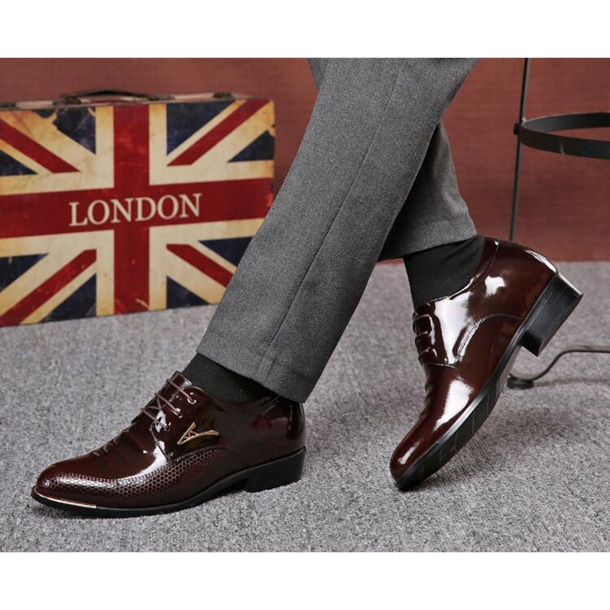 British Sharp Tall Wedding Shoes 8cm 3 2 Inch Dark Brown Lace Up Groom Tuxedo