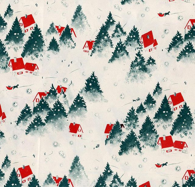 Red Roofed Houses In The Snow Vintage Christmas Wrapping Paper