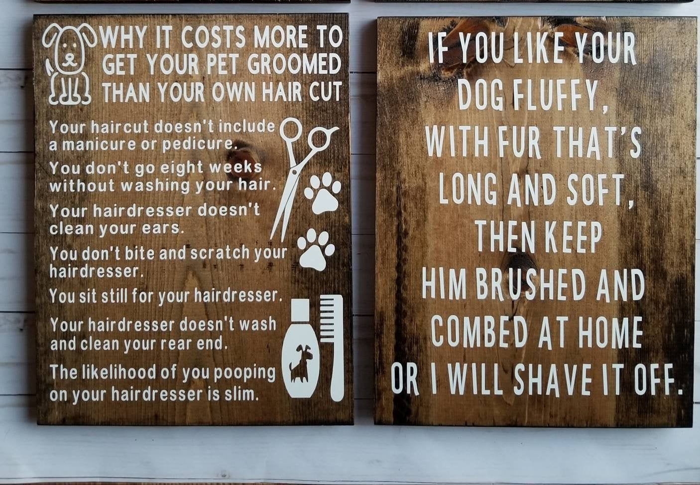 Gift Set Of 2 Dog Groomer Gift Business Signs Dog Grooming