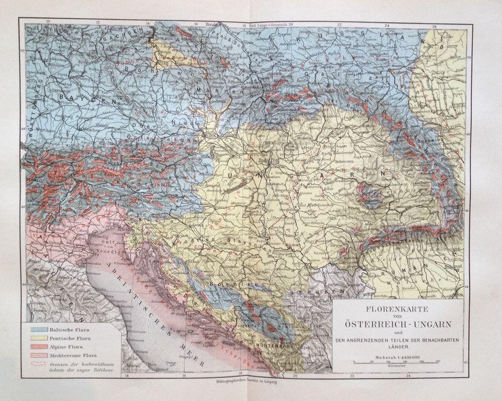1898 Florenkarte Von Osterreich Ungarn Alte Landkarten Karten Landkarte