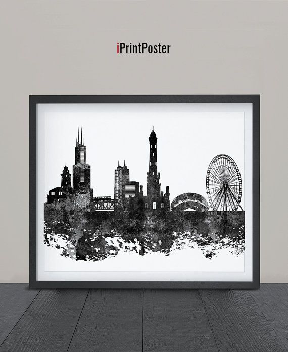 Chicago Art Print Watercolor Chicago poster Art by iPrintPoster