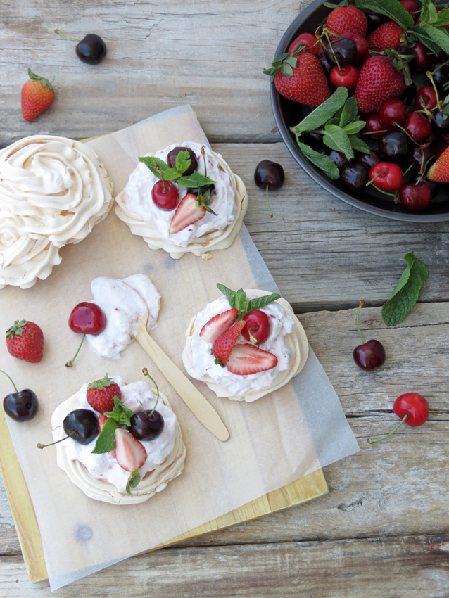 Strawberries and Cherries Meringues