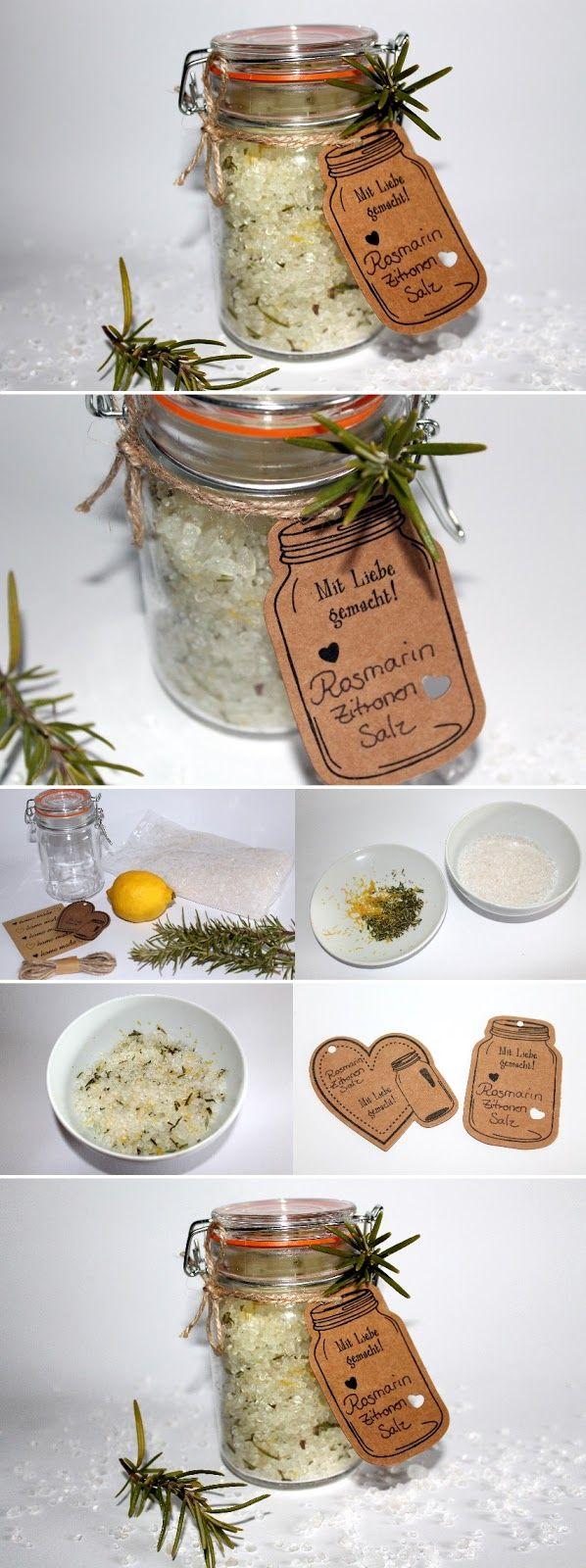 Mitbringsel aus der küche  DIY Rosmarin-Zitronen Salz | Selbermachen geschenke, Geschenke aus ...