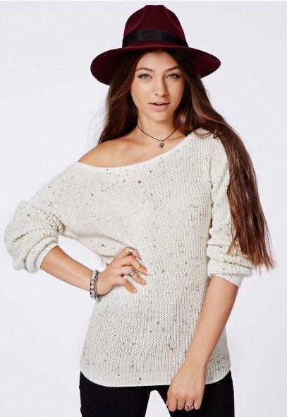 eabc86b62d9 Ophelita Off Shoulder Jumper Cream - Knitwear - Missguided   Back to ...