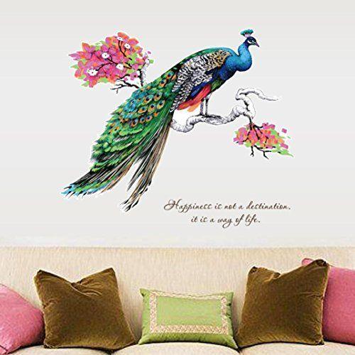Wandaufkleber Pfau Orientalischer Chinesischer Stil,Hevoiok Modern