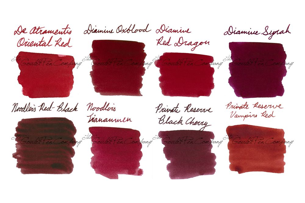 2ml samples of 8 of our most popular dark red fountain pen ink colors.  Includes