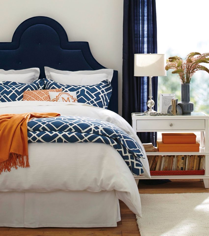 Navy and orange bedroom  Master bedrooms decor, Bedroom design