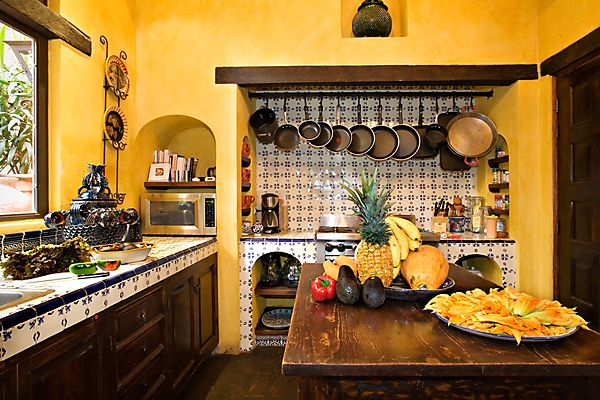 gorgeous vintagegold and brown color pinterest mexican kitchens dark wood and bright colours - Mexican Kitchen