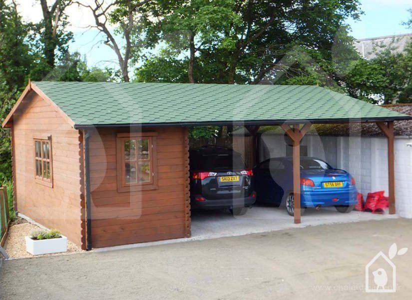 Carport Double et abri, 600x750 44mm, 45m² Maison