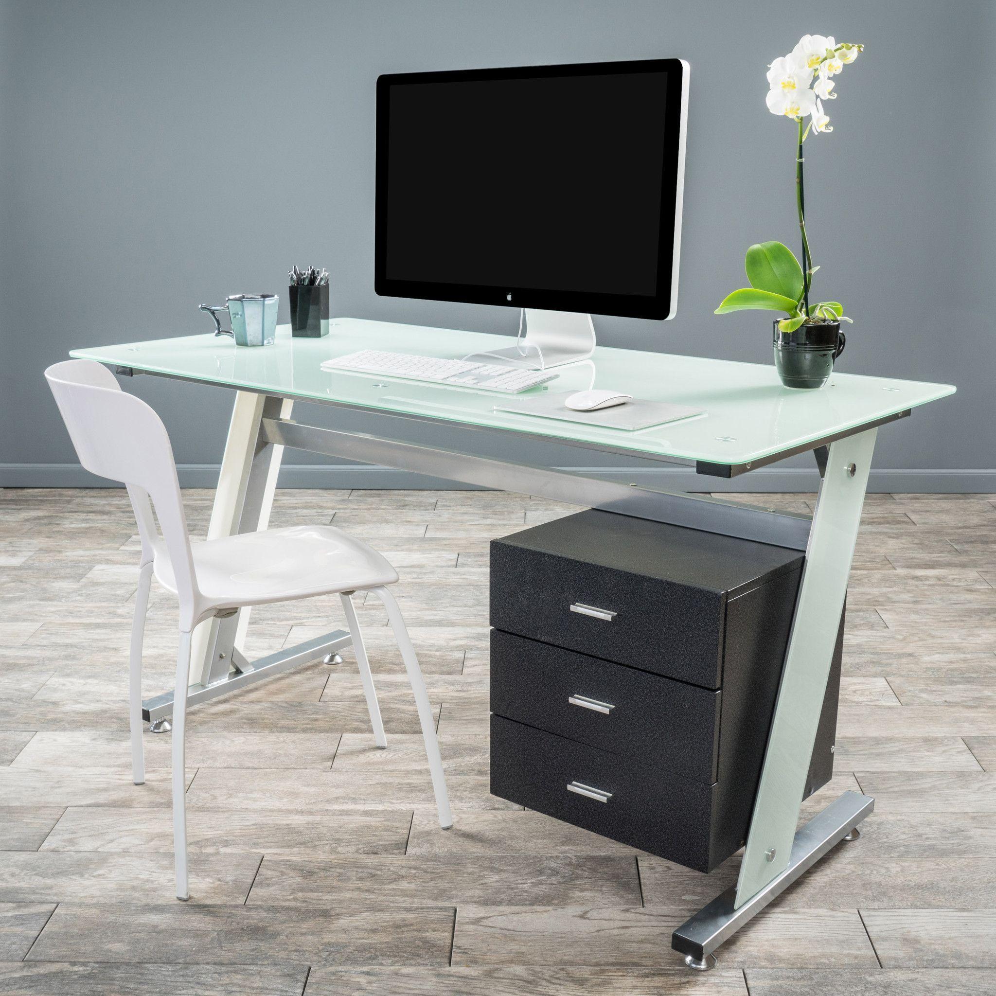best cheap f1e62 b9eca Berlin Computer Desk | Products | Desk cabinet, Glass desk ...