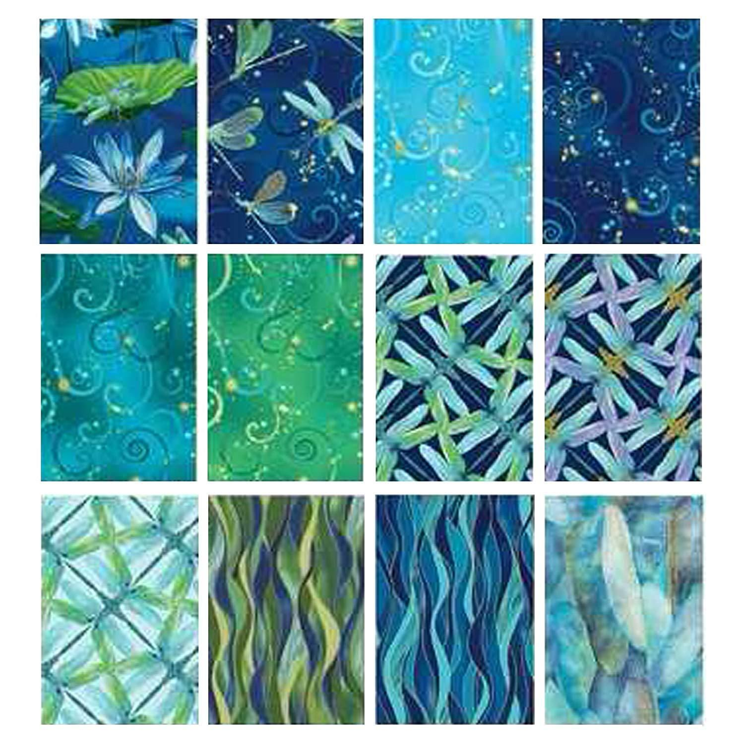 Benartex DANCE OF THE DRAGONFLY 10-inch Precut Squares Cotton Fabric Quilting