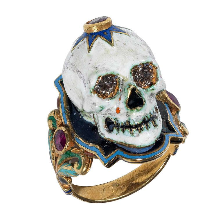 A Gold, Diamond and Enamel Skull Ring in the style of antique Memento Mori. Italian Contemporary or 20th Century.