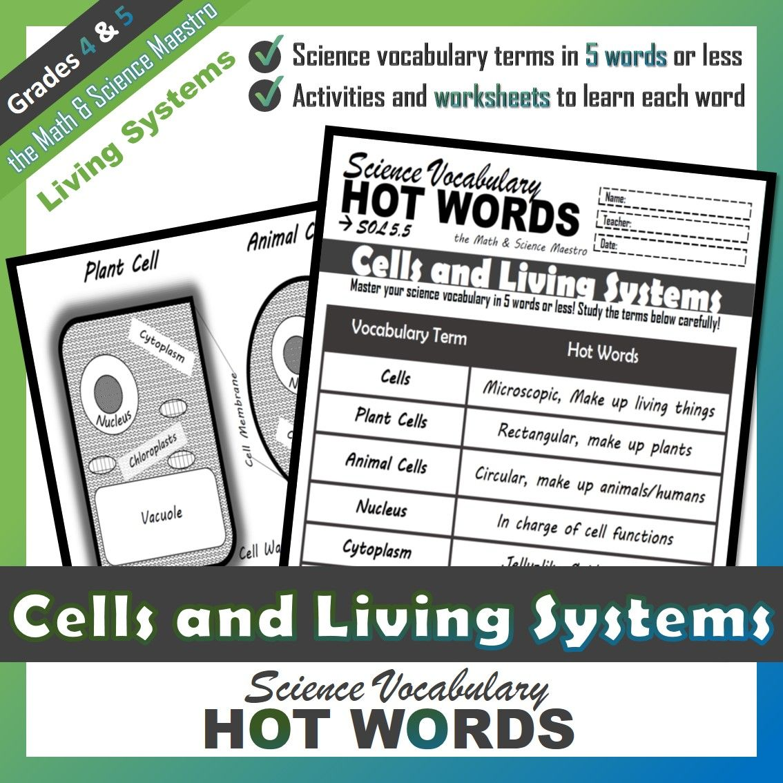 5th Grade Science Hot Words Cells And Living Systems