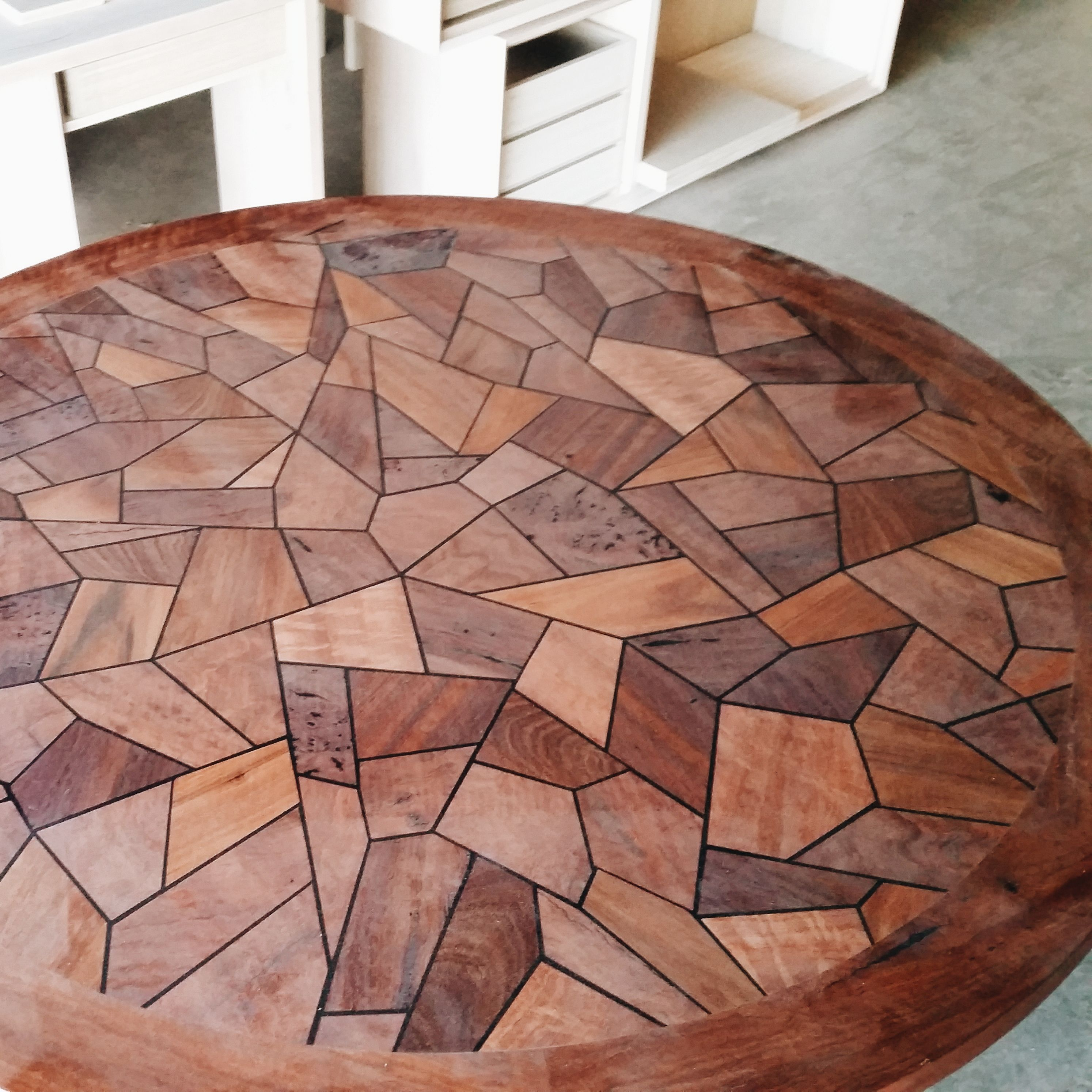 Round parquetry table top in the making This piece is made from