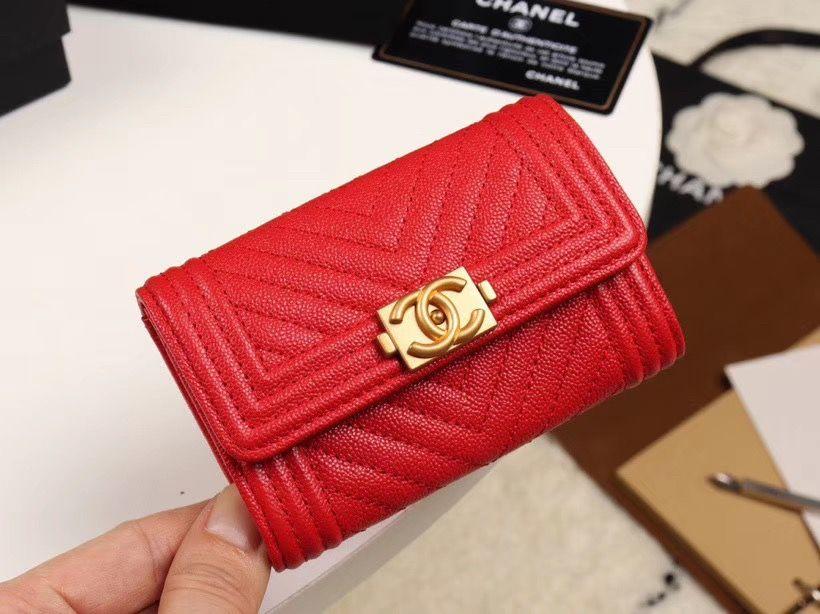 Chanel cc boy card case holder v pattern red chanel card