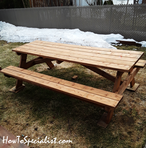 Diy 8 Ft Picnic Table Howtospecialist How To Build Step By Step Diy Plans In 2020 Picnic Table Plans Picnic Table Woodworking Plans Picnic Table