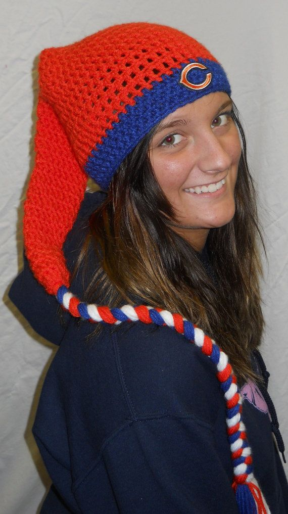 Chicago Bears Football Crochet Super Long Sock Hat by CDBSTUDIO, $20.00