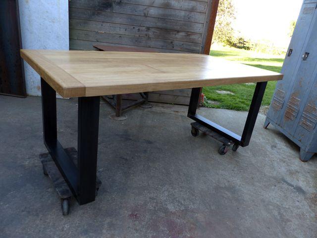 table industrielle sur mesure chêne et métal   a   pinterest