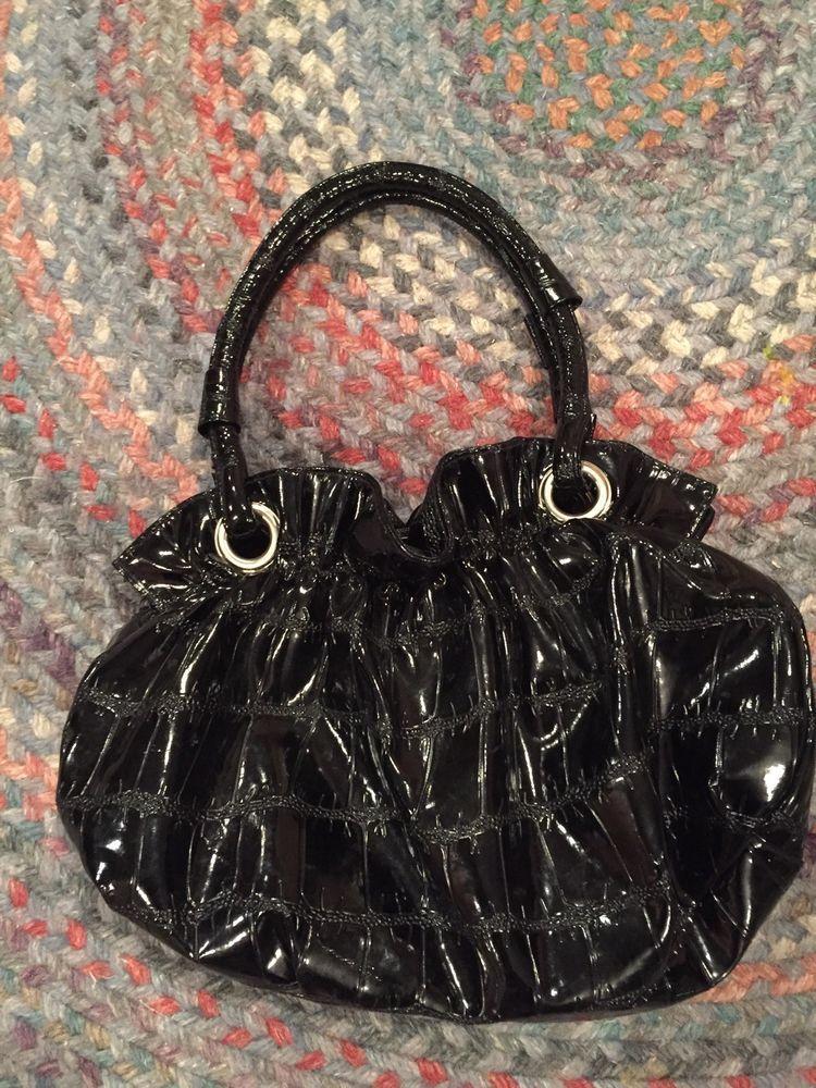 Black Vinyl Faux Croc Handbag Purse Fashion Clothing Shoes Accessories Womensbagshandbags