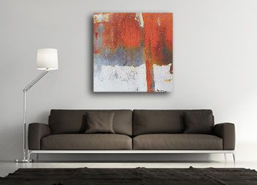 Red Grey Chic Square Abstract Photo Canvas Wall Art Large Picture Prints