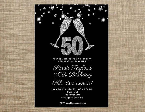 Cheers To 50 Years Invitation Black And Silver Birthday Invitations Printable 50th Templates